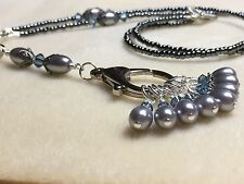 Black & Silver Stitch Marker Necklace W/ 8 SNAG FREE Markers- HANDMADE