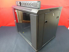 9U Wall Mount Server / Network Rack Cabinet With Locks & Hinged Glass Door PDU