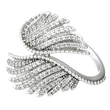 FEATHERS Ring 925 Solid Sterling Silver Large Sparkling Pave Size 8.5 58 Q1/2