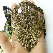 1 Meter Antique Style Embroidery Venise Trim Leaf Bridal Wedding Metallic Lace