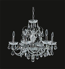 "CHANDELIER with 6 lights, CHROME Frame Clear CRYSTALS (D24"" x H21"") Contemporary"
