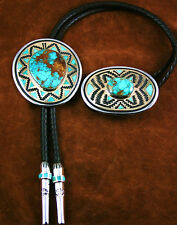 Tommy Jackson Rare Gem Grade Aztec Spiderweb Turquoise Bolo Tie and Belt Buckle