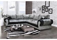 Tango Large Fabric Corner Sofa in Luxury Black & Silver Crushed Velvet Material.