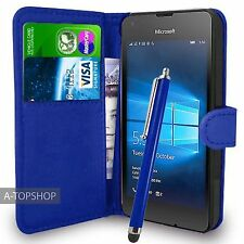 Blue Wallet Case PU Leather Book Cover For Micosoft / Nokia Lumia 550 Mobile