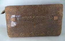 BEAUTIFUL VINTAGE LIZARD SKIN BROWN CLUTCH BAG HANDBAG
