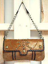 BETSEY JOHNSON GOLD BRONZE GENUINE LEATHER STUDDED CLUTCH SHOULDER BAG HANDBAG