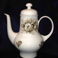 KAHLA GERMANY 4 CUP COFFEE POT BROWN FLOWERS BUDS ON WHITE TEAPOT ROSES BAVARIA