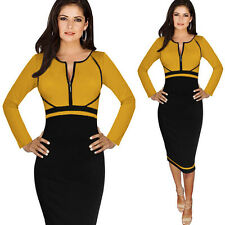 Fashion Womens Sexy Casual Business Work Bodycon Party Pencil Dress Plus Size