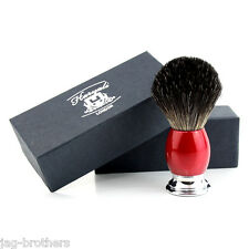 Men's 100% BLACK Badger Hair Shaving Brush in RED&CHROME Handle Made in UK