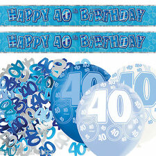 Blue Silver Glitz 40th Birthday Banner Party Decoration Pack Kit Set