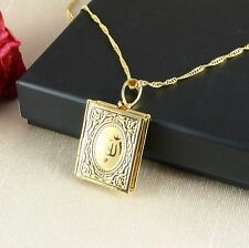 N1 18K Gold Plated Allah Koran Locket Pendant Necklace - Gift Boxed