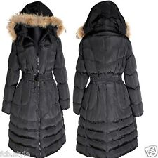 DAMEN LANG BALLON WINTER JACKE FELL KAPUZE PARKA STEPP MANTEL 52  WARM SCHWARZ