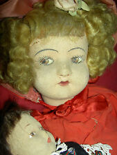 RARE antique jointed felt, ALMA Italy doll with small B. Altman 1920s felt child
