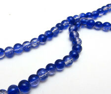 New 6MM 50pcs  Round Crackle Art Crystal Glass Spacer Charm Beads Dark Blue