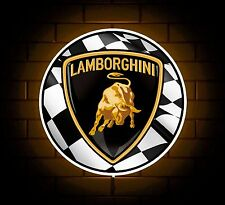 LAMBORGHINI BADGE SIGN LED LIGHT BOX MAN CAVE GARAGE GAMES ROOM BOYS GIFT