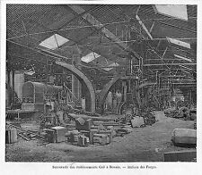 PARIS EXPOSITION UNIVERSELLE WORLD FAIR 1889 ATELIER FORGES CAIL DENAIN GRAVURE