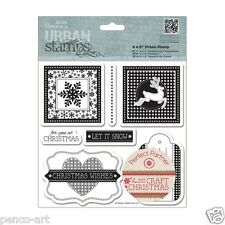Papermania craft Christmas Urban stamp set of 7 stamps snowflake reindeer tags