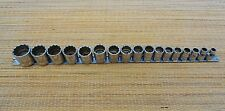 "Snap On Tool 17 Pc 12Pt 3/8""Dr Metric Standard Shallow Socket Set 8-26mm VGC USA"