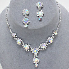 ELEGANT! Prom Bridal Pageant Formal Jewelry AB CLEAR Crystal Necklace Set  WOW!