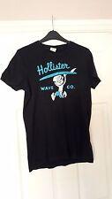 Hollister mens black short sleeved crew neck T shirt blue surf motif size S