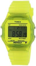 Timex Mens or Womens 80 Classic Digital Chronograph Yellow Transparent Watch NEW