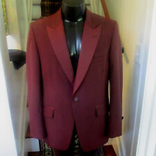 MENS VINTAGE BURGUNDY  TUXEDO JACKET BY LORD WEST PEAK LAPEL 40R