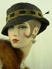 VINTAGE HAT 1930s FRENCH, BLACK STRAW SLOUCH HAT w GOLD LAME & BLACK RIBBON TRIM