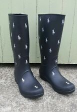 POLO RALPH LAUREN WOMEN'S BLACK RUBBER WHITE JOCKEY RAIN WORK BOOTS SIZE 8.5/9
