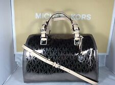 NWT Authentic Michael Kors Nickel Metallic Mirror Large Grayson Satchel Bag
