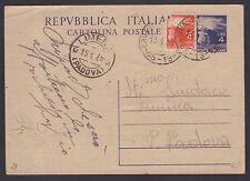 STORIA POSTALE REPUBBLICA 1948 Intero 4L da Cavaso del Tomba a Limena (FSW)