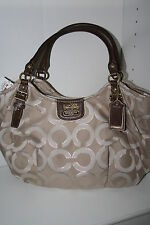 NWT COACH MADISON OPTICAL ART LUREX ABIGAIL KHAKI BROWN TOTE HANDBAG 18639
