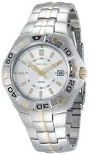 Seiko SGEE56 Sporty S/S Two Tone Gold Plated Silver Dial Date 100M Sports Watch