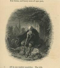 ANTIQUE VICTORIAN MAN MOURNING SORROW CEMETERY GRAVE STONE CHURCH TOMB ART PRINT