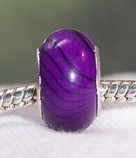 Purple Black Stripe Pattern Acrylic Bead fits Silver European Charm Bracelets