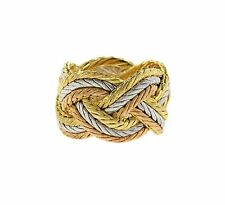 Buccellati Three Color 18k Gold Braided Woven Ring Retail $7910