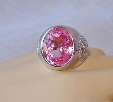 LADIES 13.42 CT  PINK TOPAZ RING SZ. 8.75 ~ WHITE GOLD over 925 STERLING SILVER