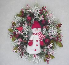 SNOWMAN PEPPERMINT CANDY CHRISTMAS HOLIDAY CANDY SNOWFLAKE DOOR DECOR WREATH