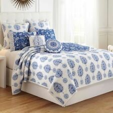 Dena Home SOLANGE Full / Queen Quilt  White / Indigo NEW IN POUCH Blue Nostalgia