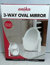 3-Way OVAL Mirror 3 Mirrors 2x - 3x MAGNIFYING Dressing Table Bathroom Travel