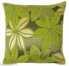 "FILLED BRIGHT GREEN SILVER GREY THICK CHENILLE FLORAL SPARKLY CUSHION 17"" - 43CM"