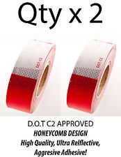 "2""x150' DOT-C2 Reflective Safety Red White Conspicuity Tape Truck Trailer- Qty 2"