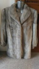 new design 100% real vintage silver blue sapphire mink fur coat full pelt