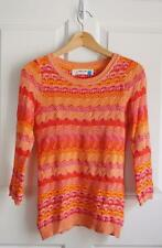 ANTHROPOLOGIE SPARROW sz S SCALLOP STITCH PULLOVER in organe pink stripes EUC