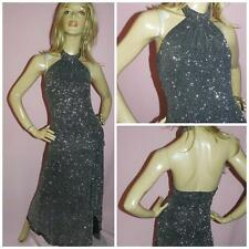 80s SILVER GLITTER BACKLESS HALTERNECK MAXI ART DECO DRESS 14 M 1980s
