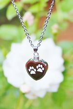 Paw Print Heart Cremation Pendant Urn NECKLACE Jewelry Pet Dog Cat Memorial Gift