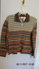 OILILY Italian Wool Blend Brown Zippered Cardigan Sweater Women XL