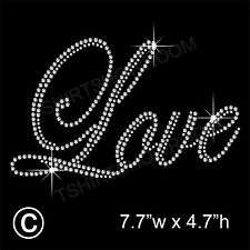 LOVE Rhinestone / Diamante Transfer Hotfix Iron on Motif Appliqué with Free Gift