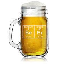 16oz Mason Jar Glass Mug w/ Handle Funny Geek Beer Periodic Table