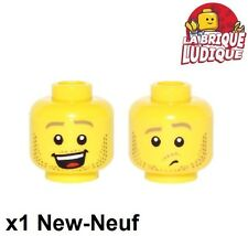 Lego - 1x minifig tête head homme smile sourire jaune/yellow 3626cpb1591 NEUF