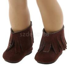 "Brown Tassel Shoes Boots Back Zip for 18"" American Girl Journey My Life Doll"
